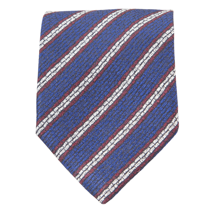 BLUE WITH RED AND BEIGE STRIPES TIE