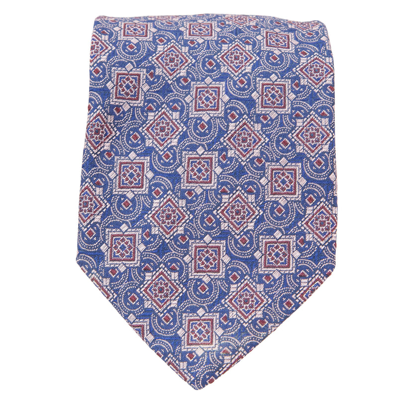BLUE WITH LIGHT BLUE AND ORANGE MEDALLIONS TIE