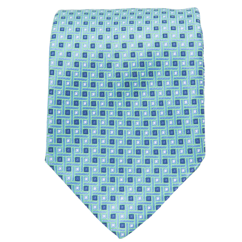 TEAL WITH BLUE AND WHITE SQUARES TIE