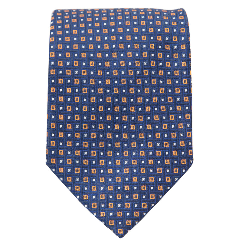 NAVY WITH ORANGE AND WHITE SQUARES TIE