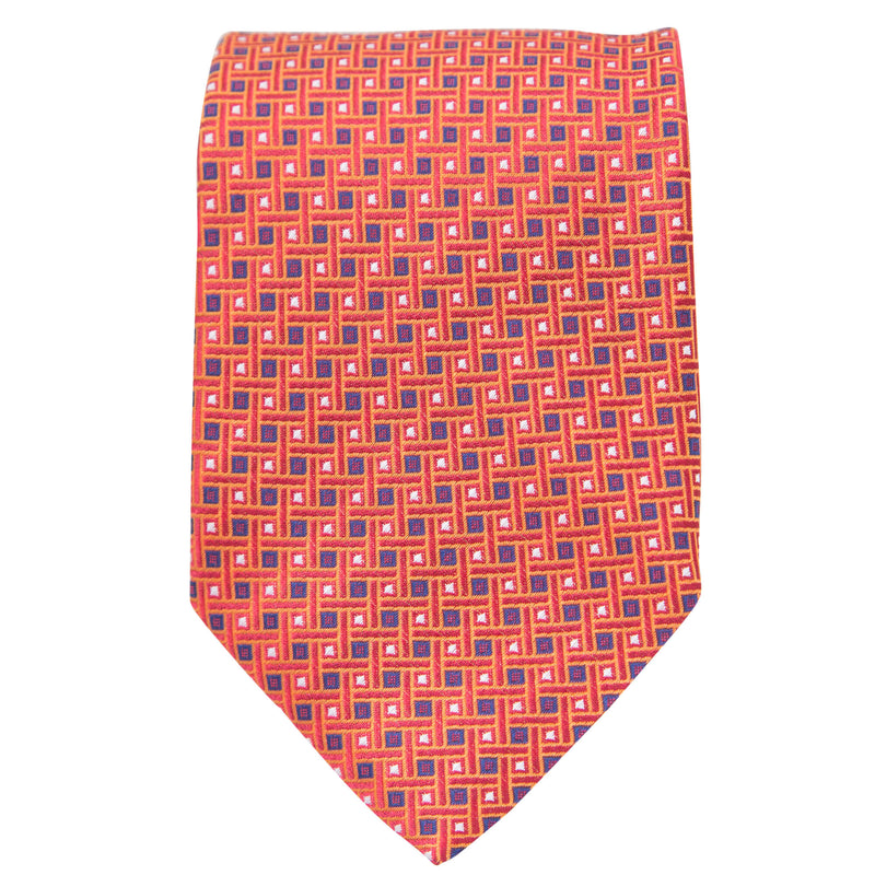 ORANGE WITH BLUE AND WHITE SQUARES TIE