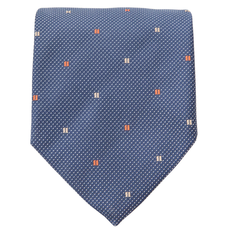 NAVY PINDOT WITH RED AND TAN RECTANGLES TIE