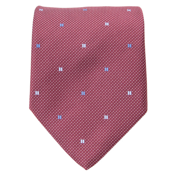 DARK RED PINDOT WITH BLUE RECTANGLES TIE