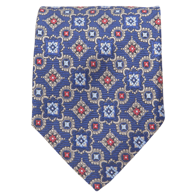 BLUE WITH STONE MEDALLIONS TIE