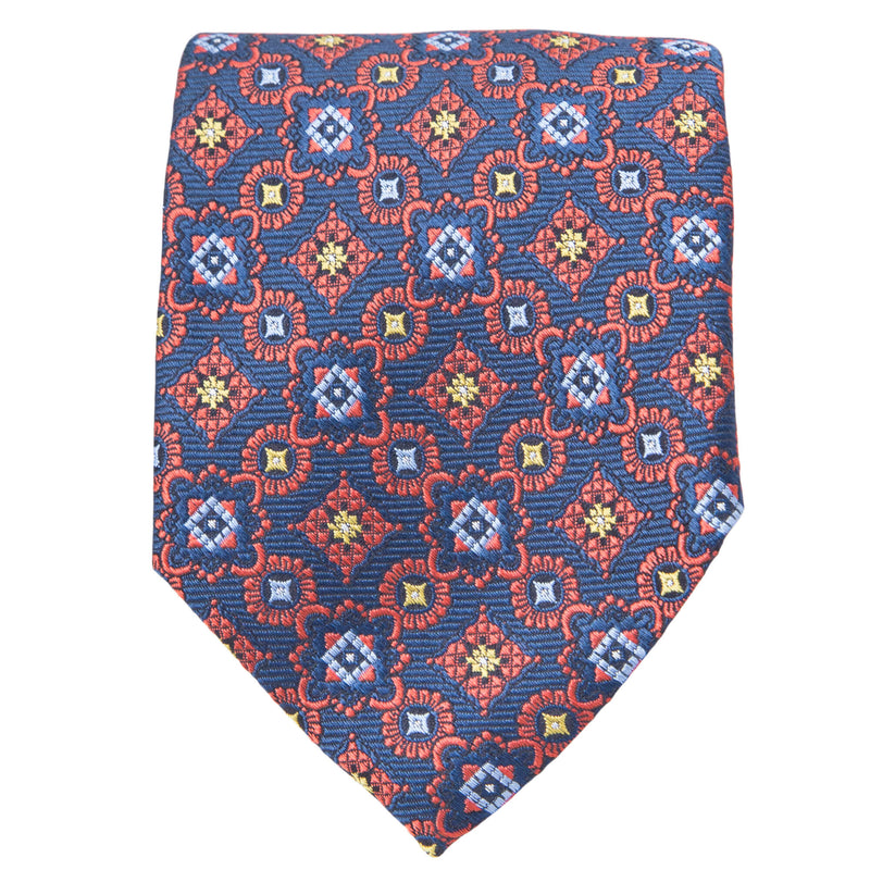 NAVY WITH RED MEDALLIONS TIE