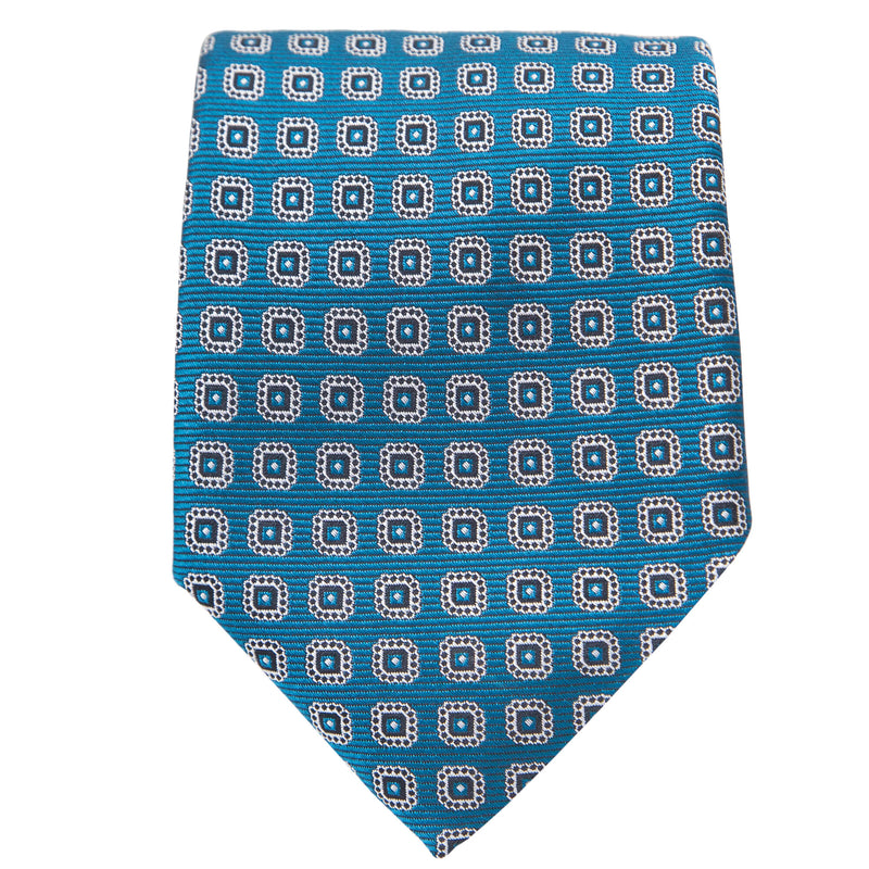TEAL WITH WHITE MEDALLIONS TIE