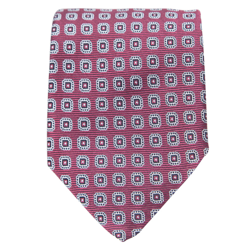 RED WITH WHITE MEDALLIONS TIE