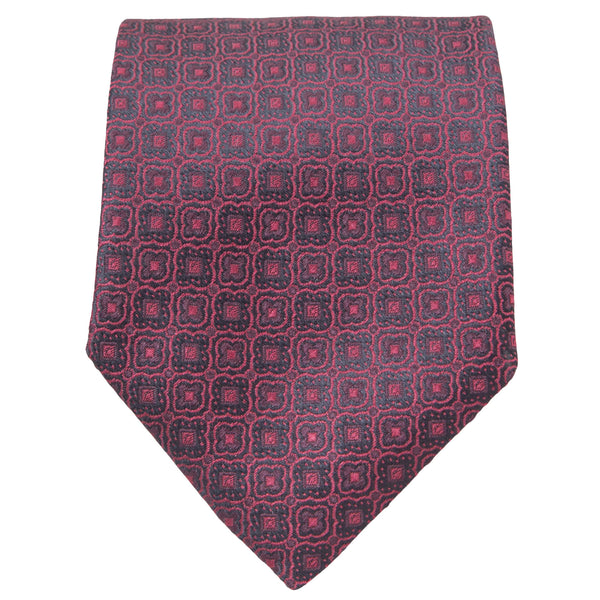 RED WITH BLACK GEOMETRIC DESIGN TIE