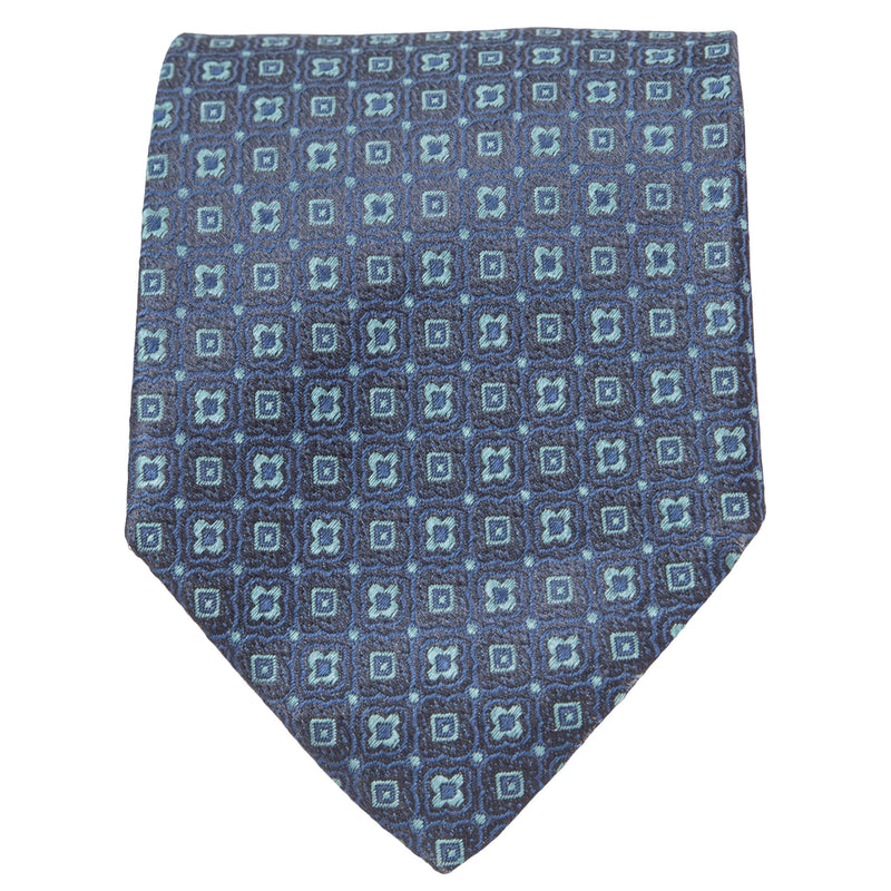 NAVY WITH TEAL GEOMETRIC DESIGN TIE