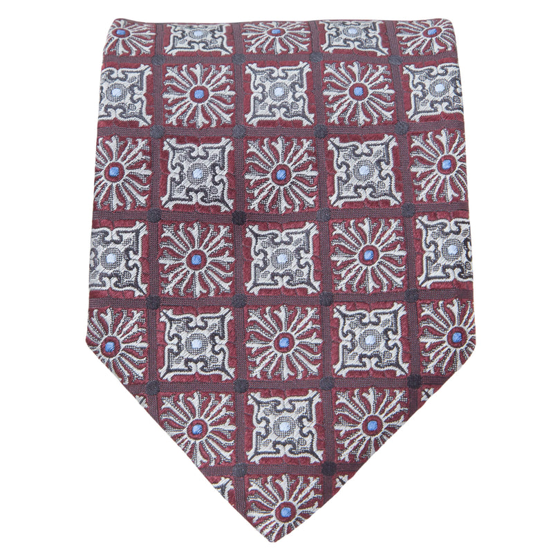 RED WITH SILVER GREY GEOMETRIC DESIGN TIE