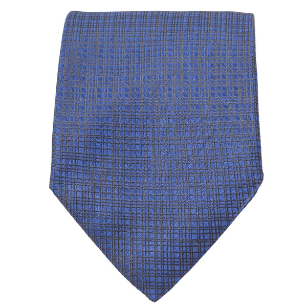 BLUE WITH BLACK CRISS CROSS DESIGN TIE