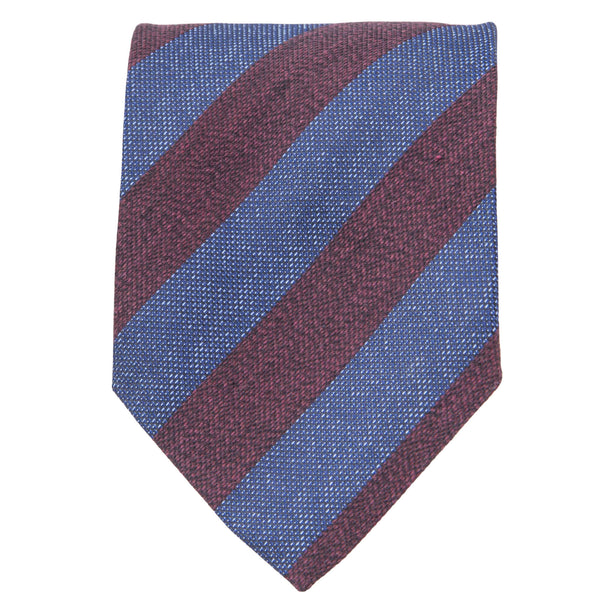 BURGUNDY AND BLUE STRIPE TIE