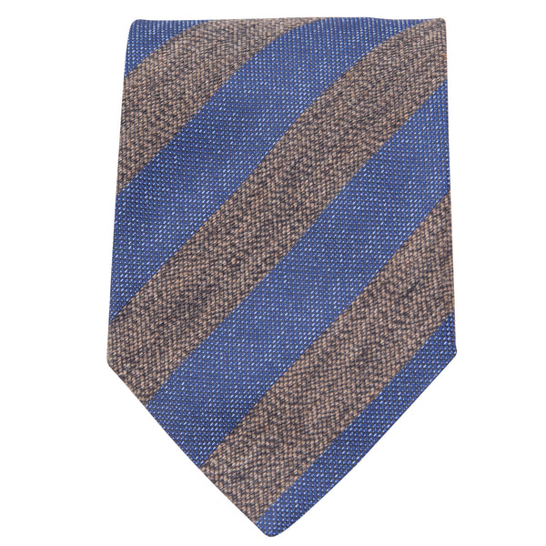 BROWN AND BLUE STRIPE TIE