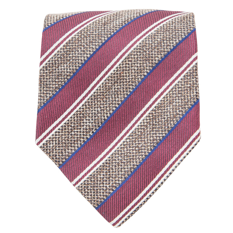 BROWN WITH RED BEIGE AND NAVY STRIPE TIE