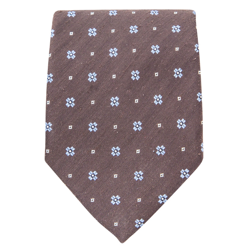 BROWN WITH LIGHT BLUE MOTIF TIE