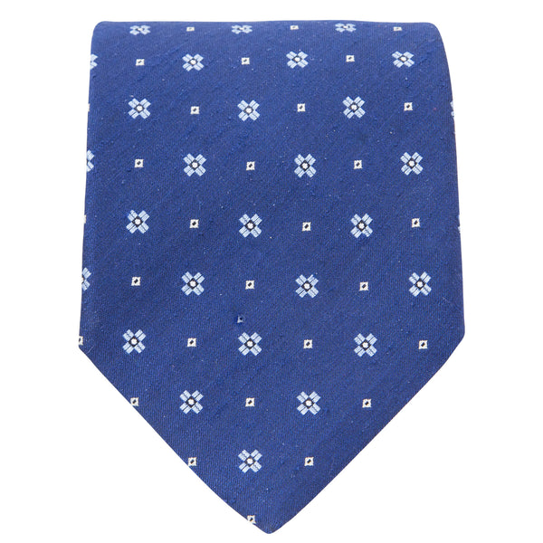 BLUE WITH LIGHT BLUE MOTIF TIE