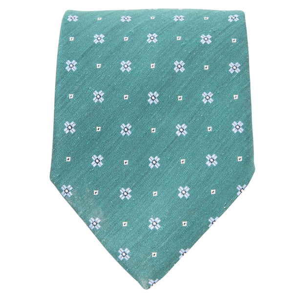 GREEN WITH LIGHT BLUE MOTIF TIE