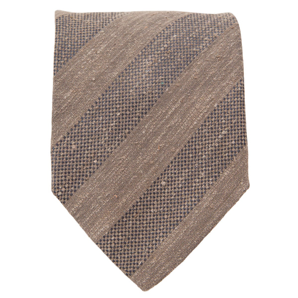 LIGHT BROWN TEXTURED STRIPE TIE