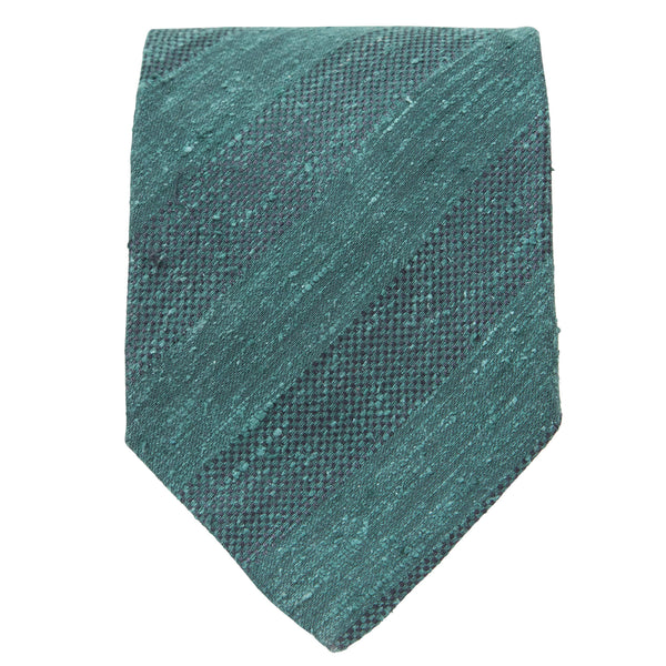 GREEN TEXTURED STRIPE TIE