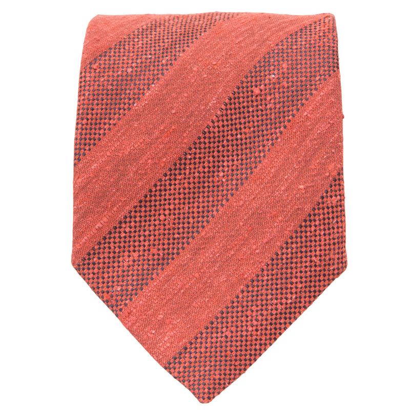 ORANGE TEXTURED STRIPE TIE