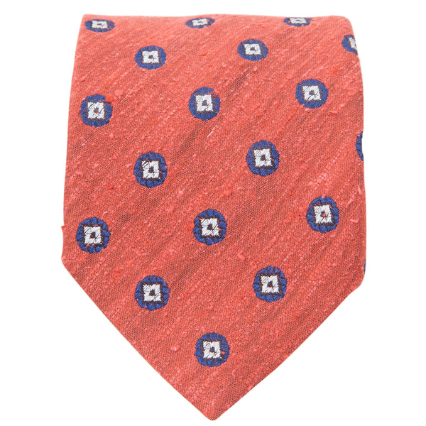 ORANGE WITH BEIGE DIAMONDS IN NAVY CIRCLE TIE