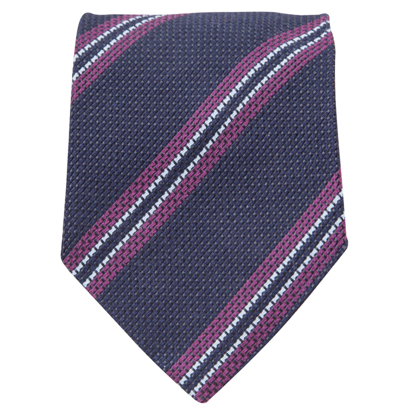 NAVY WITH RASPBERRY AND LIGHT BLUE STRIPES TIE