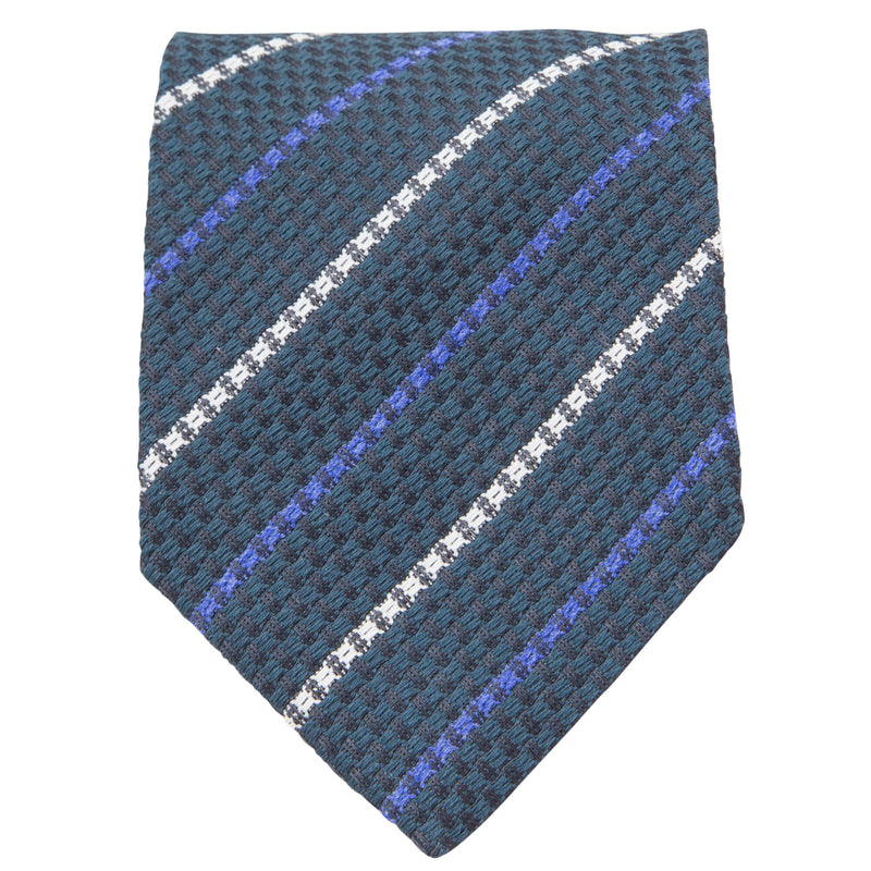 GREEN WITH WHITE AND BLUE STRIPES TIE