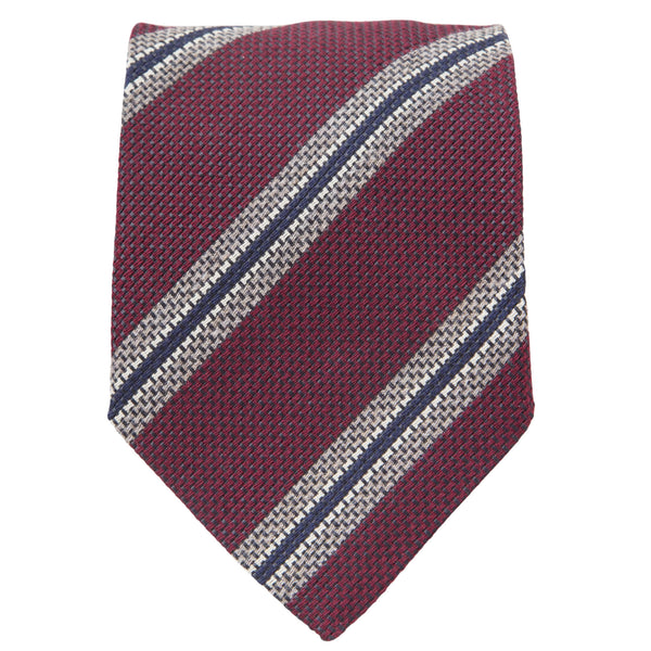 BURGUNDY WITH TAUPE NAVY AND WHITE STRIPES TIE