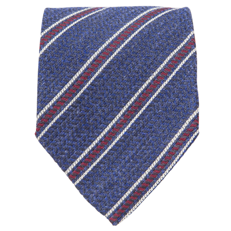 NAVY WITH RED AND BEIGE STRIPES TIE