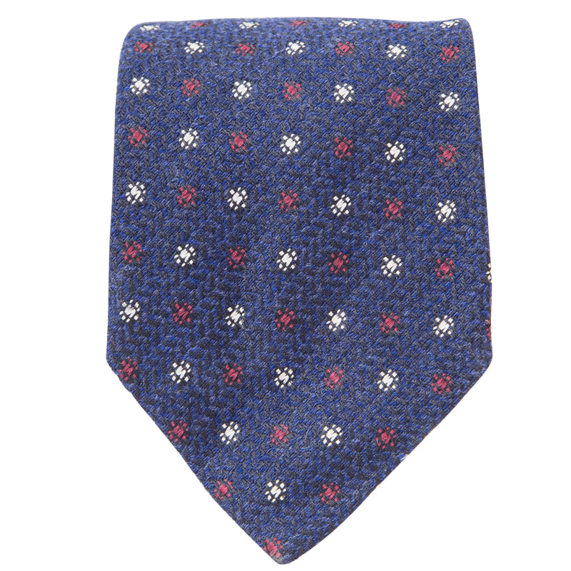 NAVY WITH RED AND WHITE MOTIF TIE