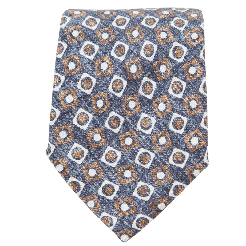 GREY WITH BROWN AND STONE SQUARES TIE
