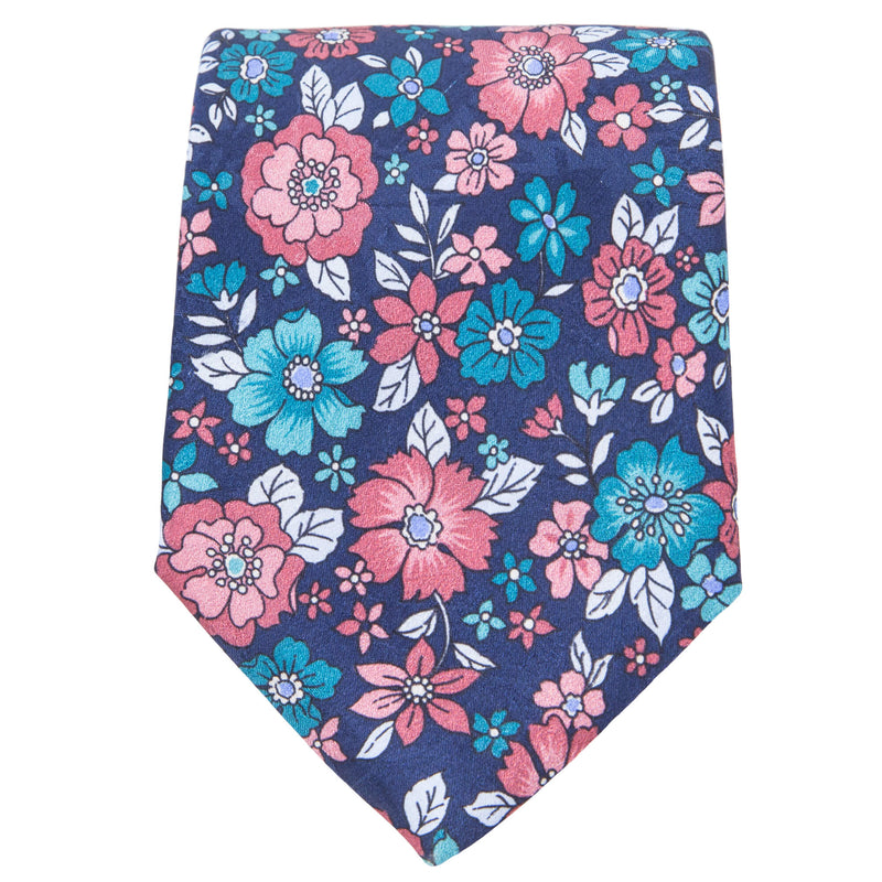 NAVY WITH TEAL AND CORAL FLOWERS TIE