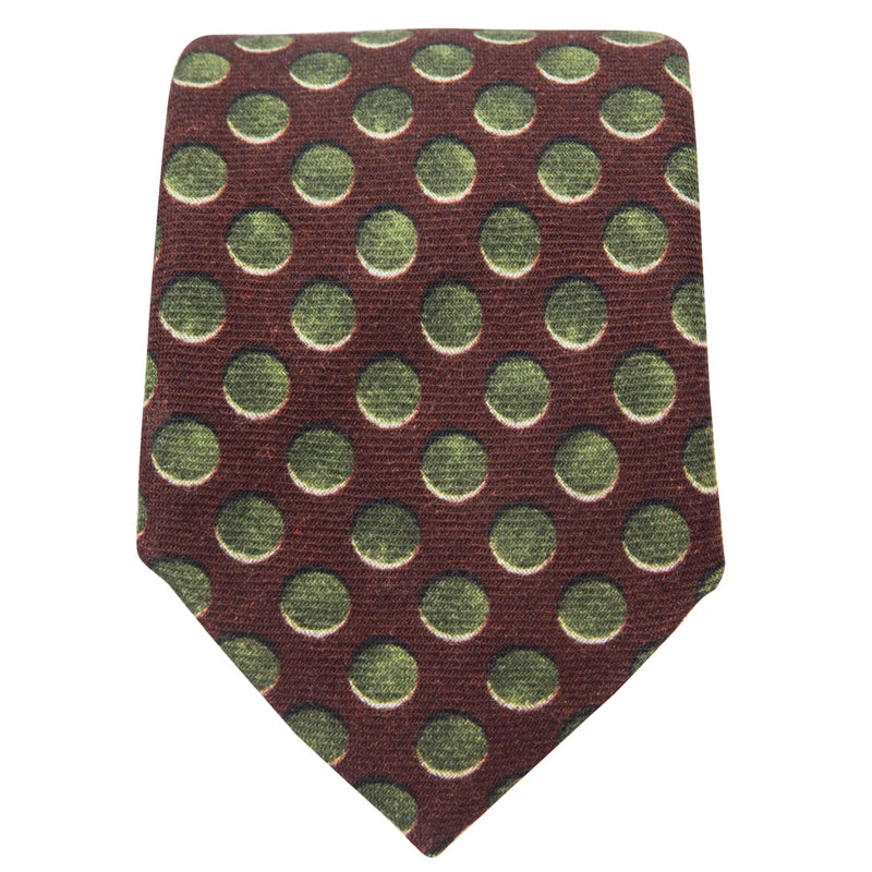 BURGUNDY WITH OLIVE CIRCLES TIE