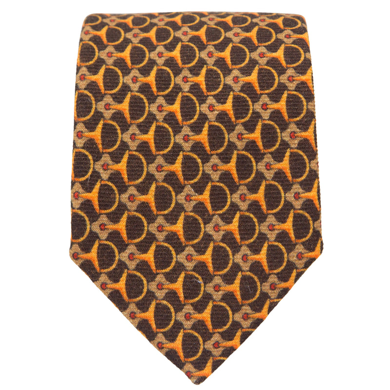 BROWN WITH ORANGE GEOMETRIC DESIGN TIE