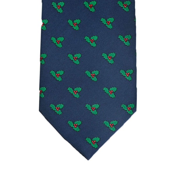 Navy With Green Christmas Holly Tie
