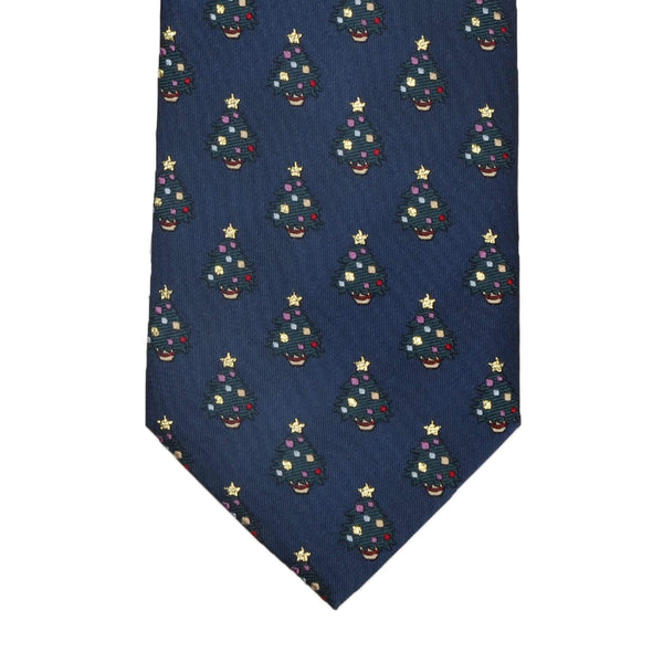 Blue With Green Christmas Trees Ties