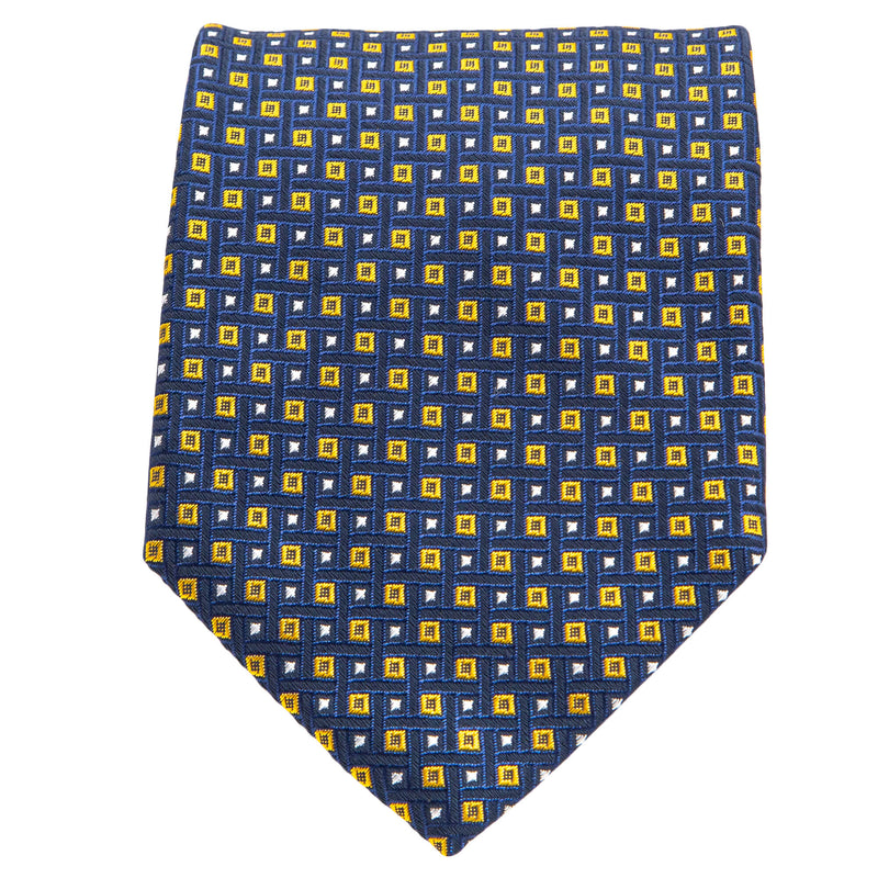 Navy With Yellow And White Diamonds Tie
