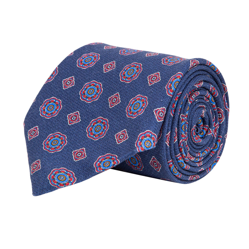 Blue With Red Geometric Flower Tie