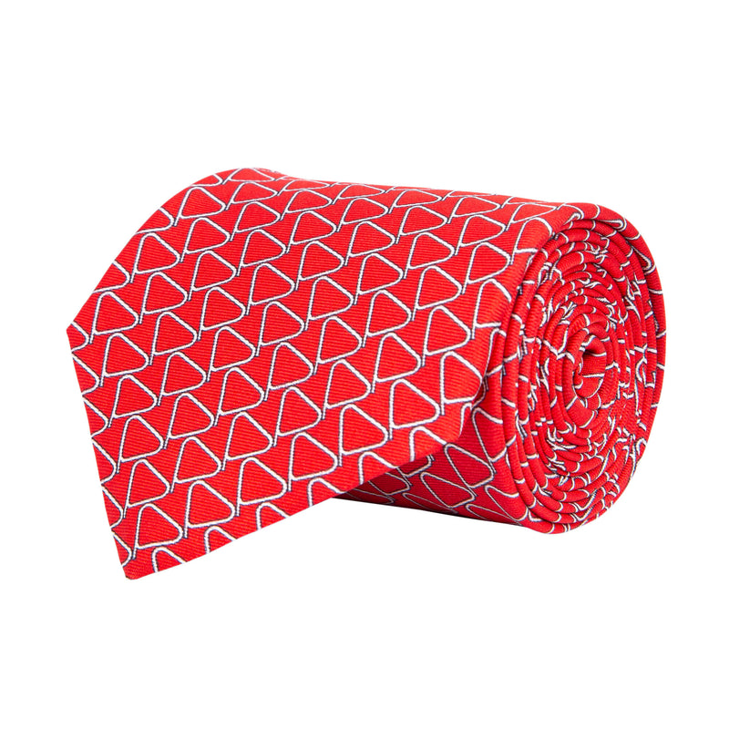 Red With White Triangles Tie