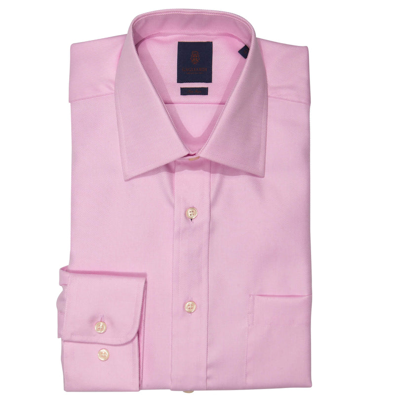 Pink Twill Tailored Fit Pointed Collar Single Cuffed Shirt
