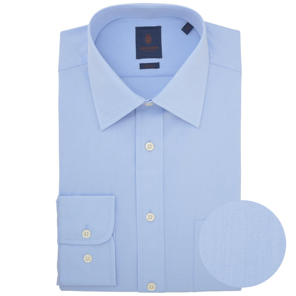 Tailored Fit Sky Poplin Classic Collar Non-iron Shirt - Gagliardi