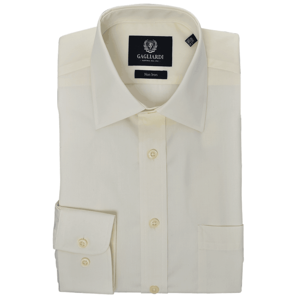 Cream Plain Tailored Fit Classic Collar Single Cuffed Shirt - Gagliardi