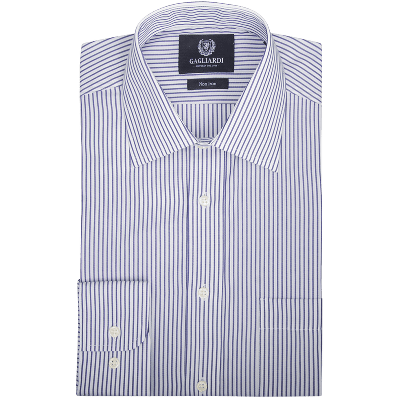 Navy Bold Striped Tailored Fit Classic Collar Shirt - Gagliardi