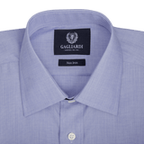 Royal Blue End On End Plain Tailored Fit Classic Collar Shirt - Gagliardi