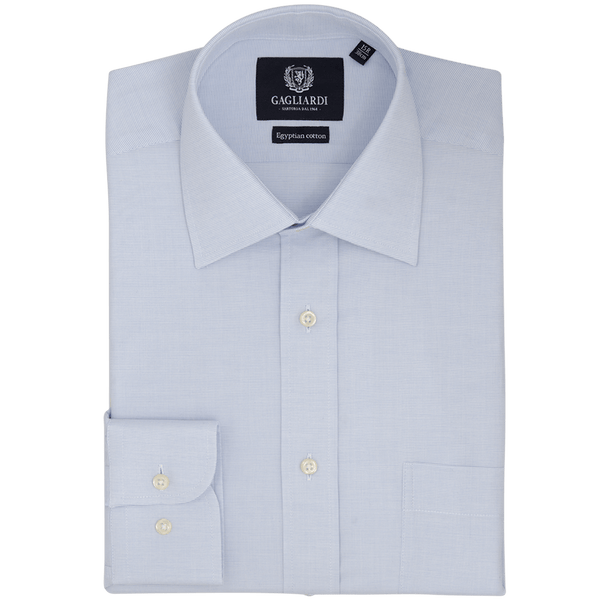 Sky Oxford Tailored Fit Cutaway Collar Shirt - Gagliardi