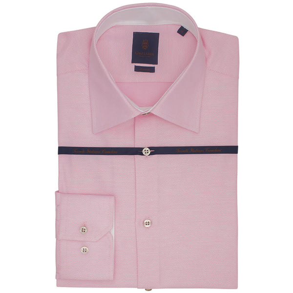 Pink Birdseye Tailored Fit Long Sleeve Grown On Placket Classic collar Shirt - Gagliardi