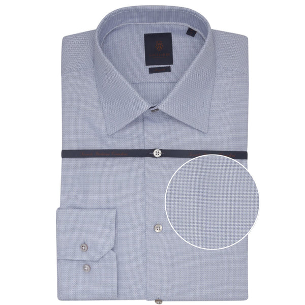 Micro Navy Dobby Tailored Fit Shirt - Gagliardi