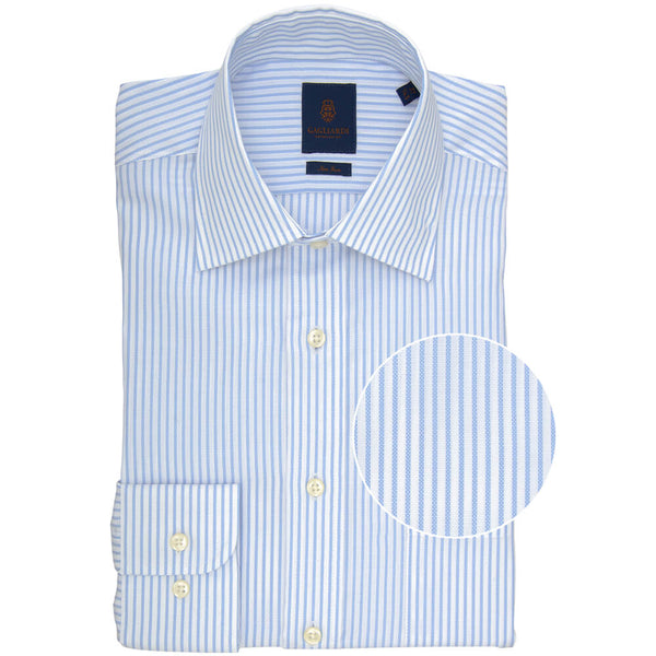 Tailored Fit Sky Bengal Stripe Non Iron Oxford Cotton Shirt - Gagliardi