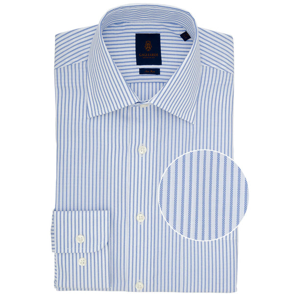 Tailored Fit Blue Bengal Stripe Non Iron Oxford Cotton Shirt - Gagliardi
