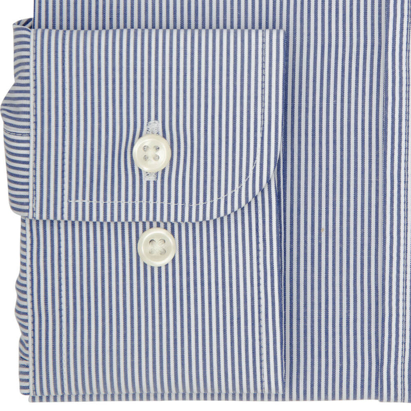 Tailored Fit Navy Pencil Stripe Poplin Cotton Non Iron Shirt - Gagliardi